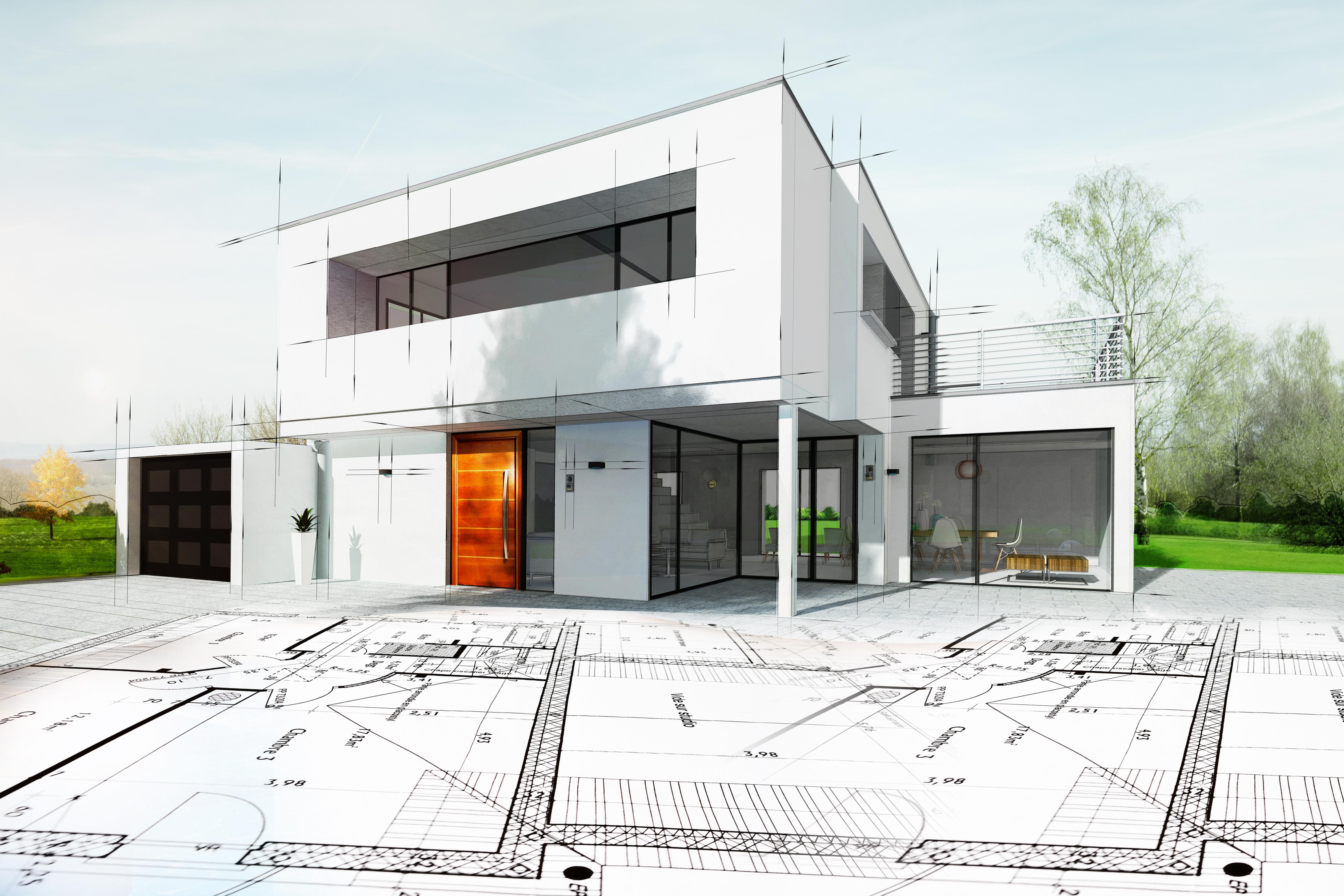 Dessin D Une Maison D Architecte Avec Plan Thigroup